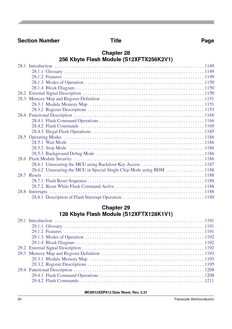 MC9S12XD256MAL ,Freescale Semiconductor厂商,IC MCU 256K FLASH 112-LQFP, MC9S12XD256MAL datasheet预览  第24页