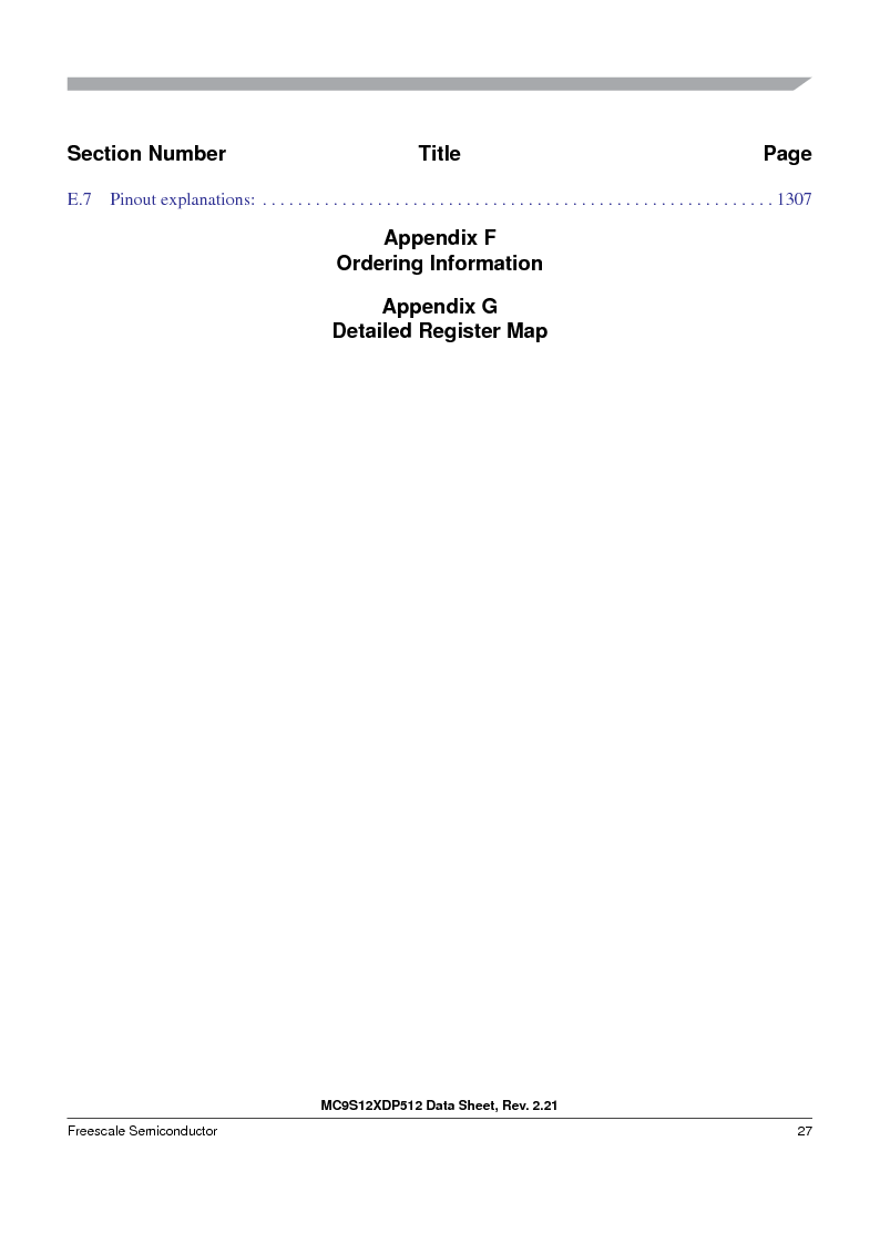 MC9S12XD256MAL ,Freescale Semiconductor厂商,IC MCU 256K FLASH 112-LQFP, MC9S12XD256MAL datasheet预览  第27页