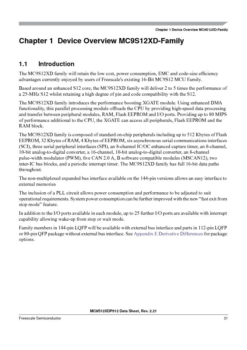 MC9S12XD256MAL ,Freescale Semiconductor厂商,IC MCU 256K FLASH 112-LQFP, MC9S12XD256MAL datasheet预览  第31页