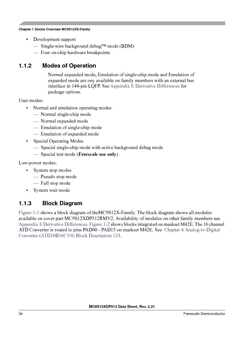 MC9S12XD256MAL ,Freescale Semiconductor厂商,IC MCU 256K FLASH 112-LQFP, MC9S12XD256MAL datasheet预览  第34页