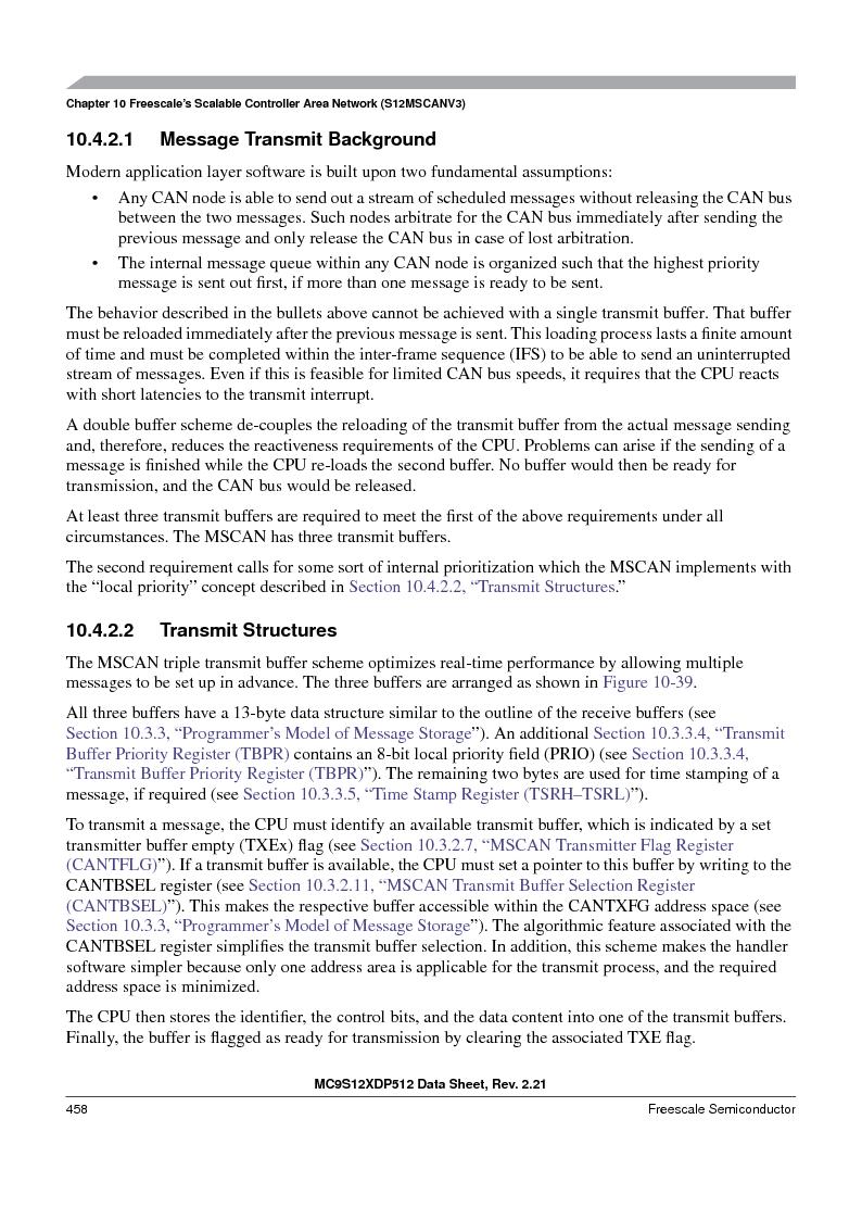 MC9S12XD256MAL ,Freescale Semiconductor厂商,IC MCU 256K FLASH 112-LQFP, MC9S12XD256MAL datasheet预览  第458页