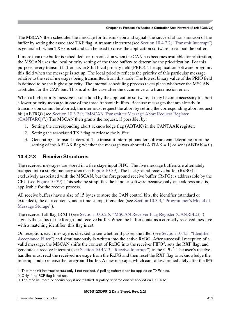 MC9S12XD256MAL ,Freescale Semiconductor厂商,IC MCU 256K FLASH 112-LQFP, MC9S12XD256MAL datasheet预览  第459页
