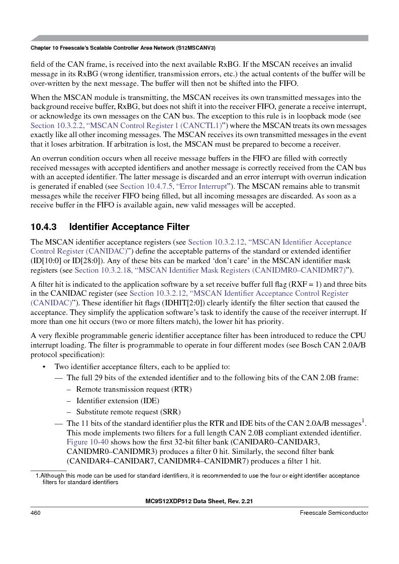 MC9S12XD256MAL ,Freescale Semiconductor厂商,IC MCU 256K FLASH 112-LQFP, MC9S12XD256MAL datasheet预览  第460页