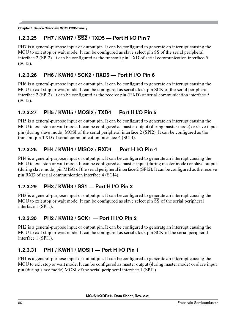 MC9S12XD256MAL ,Freescale Semiconductor厂商,IC MCU 256K FLASH 112-LQFP, MC9S12XD256MAL datasheet预览  第60页