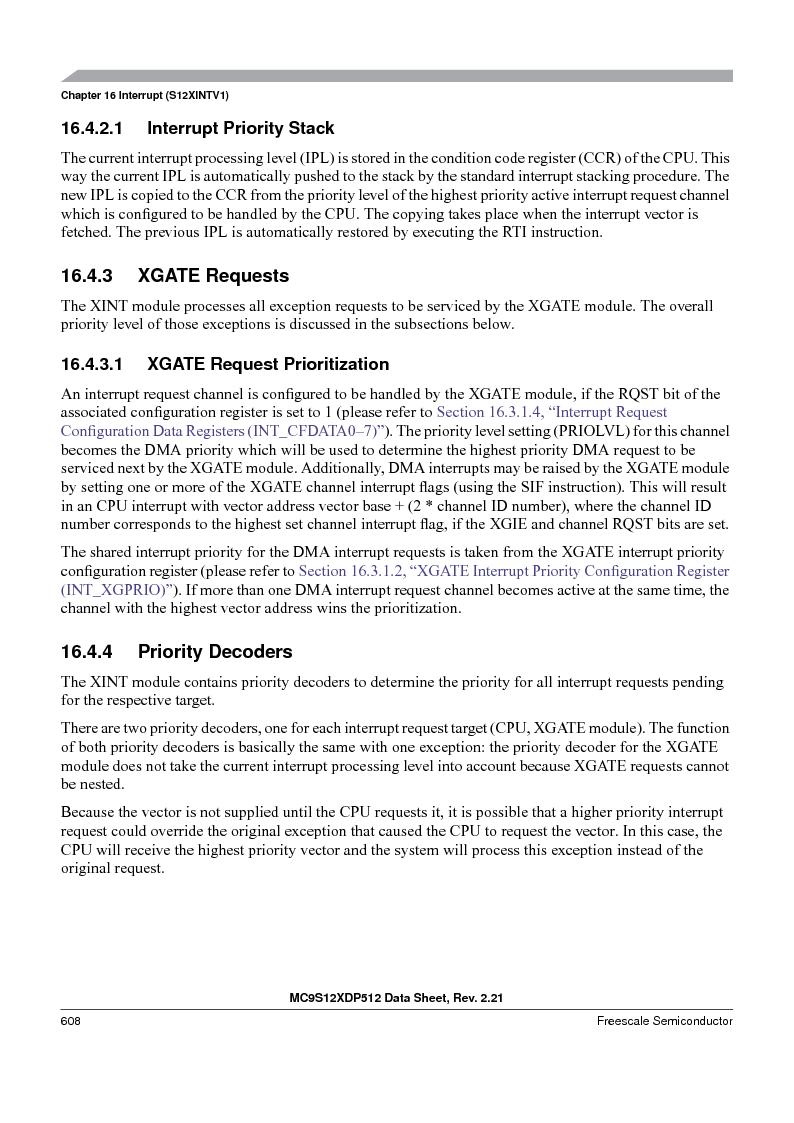 MC9S12XD256MAL ,Freescale Semiconductor厂商,IC MCU 256K FLASH 112-LQFP, MC9S12XD256MAL datasheet预览  第608页