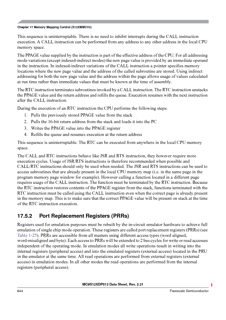MC9S12XD256MAL ,Freescale Semiconductor厂商,IC MCU 256K FLASH 112-LQFP, MC9S12XD256MAL datasheet预览  第644页