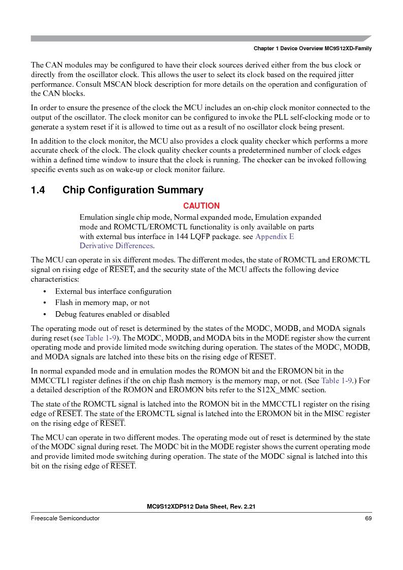MC9S12XD256MAL ,Freescale Semiconductor厂商,IC MCU 256K FLASH 112-LQFP, MC9S12XD256MAL datasheet预览  第69页