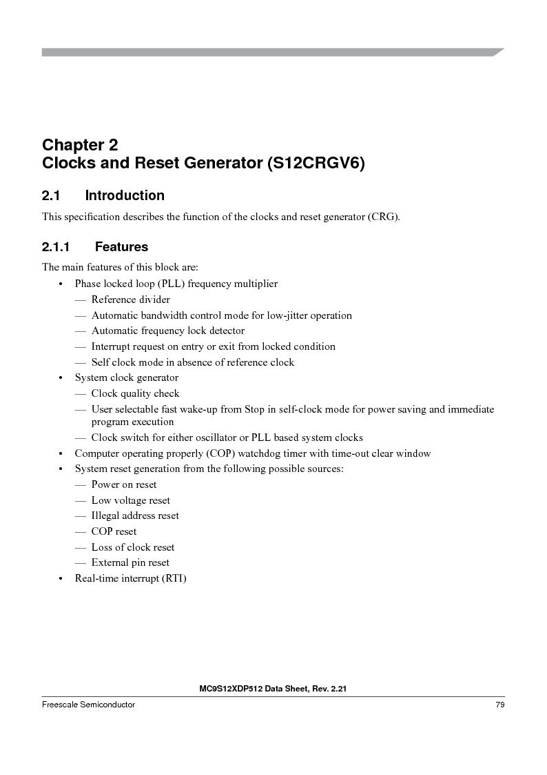 MC9S12XD256MAL ,Freescale Semiconductor厂商,IC MCU 256K FLASH 112-LQFP, MC9S12XD256MAL datasheet预览  第79页