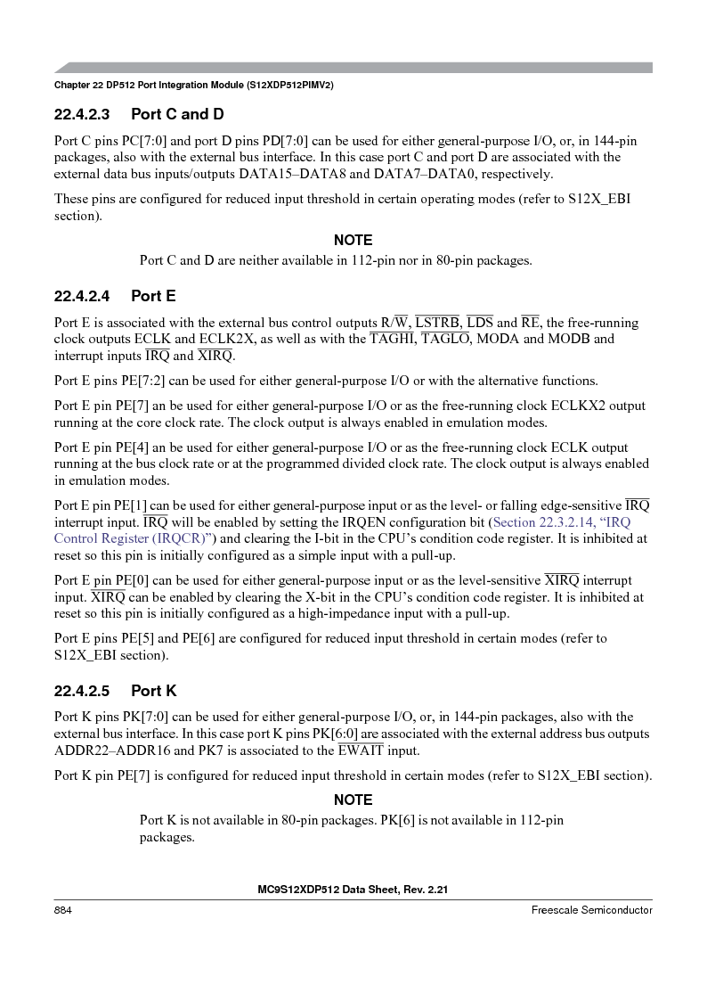 MC9S12XD256MAL ,Freescale Semiconductor厂商,IC MCU 256K FLASH 112-LQFP, MC9S12XD256MAL datasheet预览  第882页