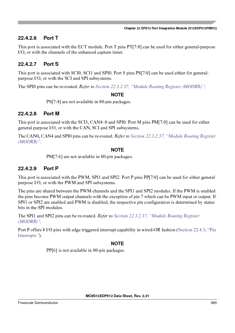 MC9S12XD256MAL ,Freescale Semiconductor厂商,IC MCU 256K FLASH 112-LQFP, MC9S12XD256MAL datasheet预览  第883页
