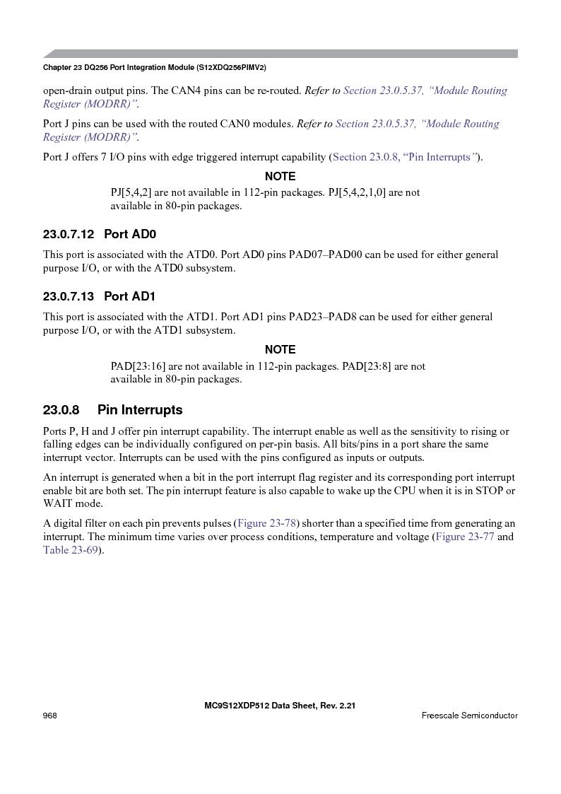 MC9S12XD256MAL ,Freescale Semiconductor厂商,IC MCU 256K FLASH 112-LQFP, MC9S12XD256MAL datasheet预览  第966页