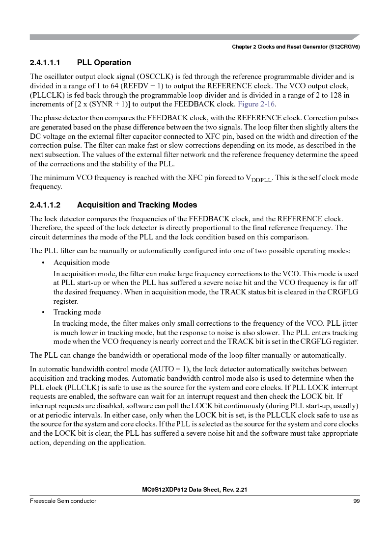 MC9S12XD256MAL ,Freescale Semiconductor厂商,IC MCU 256K FLASH 112-LQFP, MC9S12XD256MAL datasheet预览  第99页
