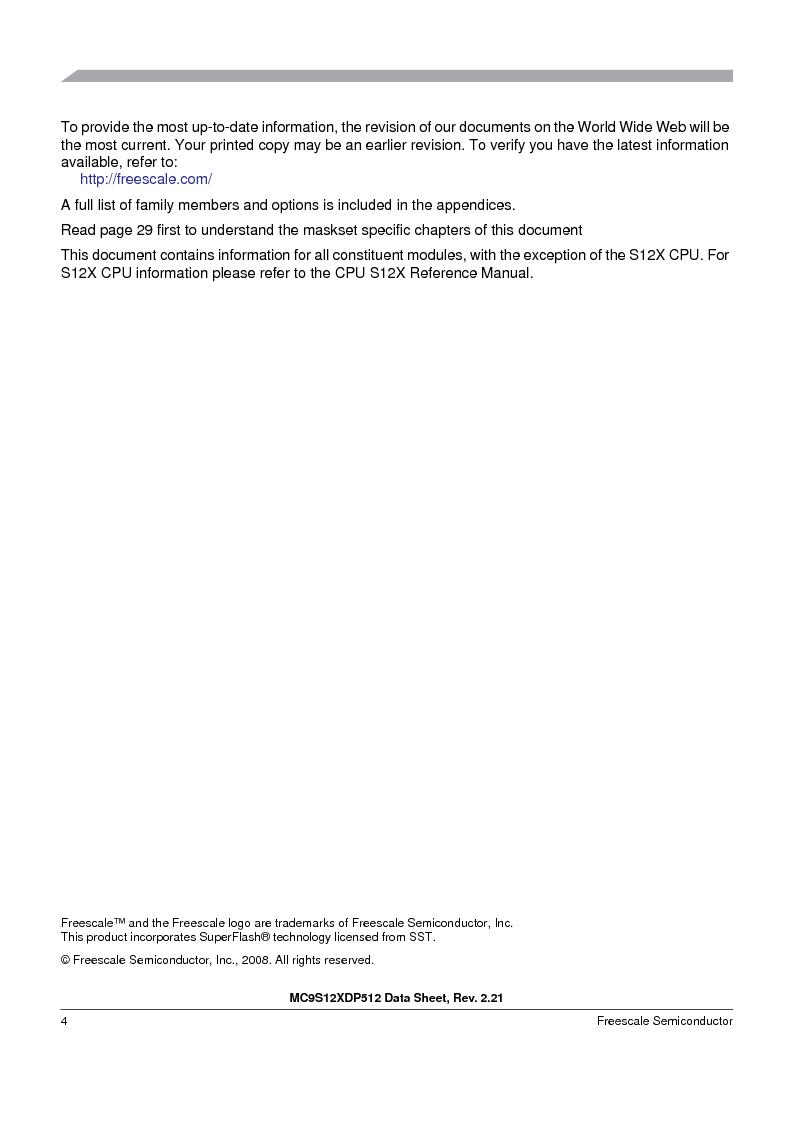 MC9S12XDP512CAL ,Freescale Semiconductor厂商,IC MCU 512K FLASH 112-LQFP, MC9S12XDP512CAL datasheet预览  第4页