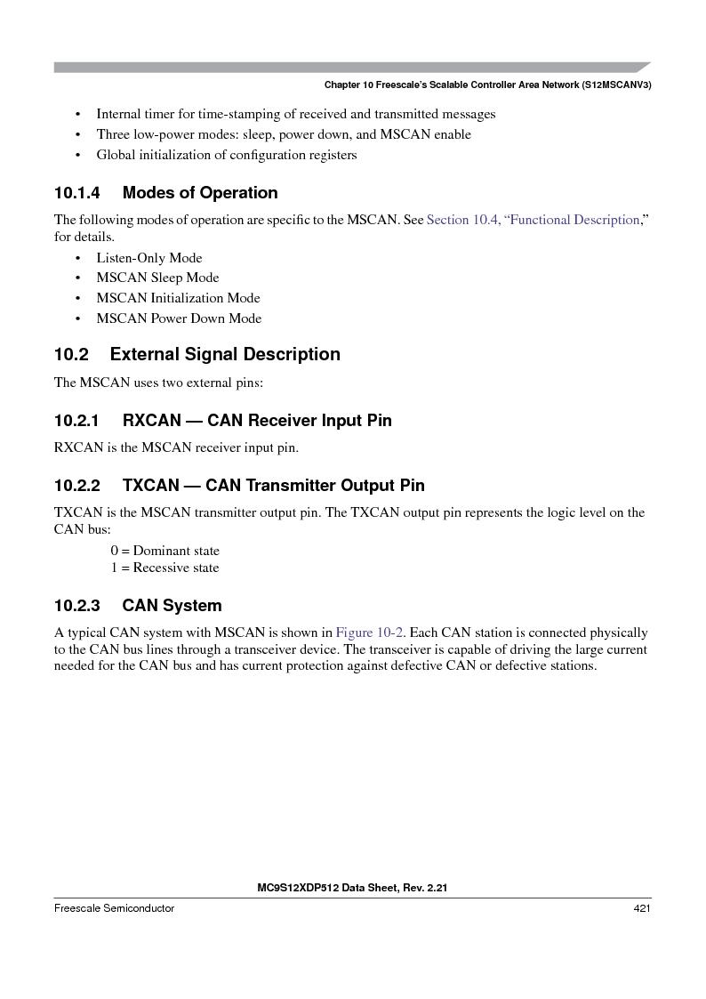 MC9S12XDP512CAL ,Freescale Semiconductor厂商,IC MCU 512K FLASH 112-LQFP, MC9S12XDP512CAL datasheet预览  第421页
