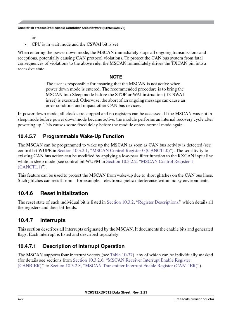 MC9S12XDP512CAL ,Freescale Semiconductor厂商,IC MCU 512K FLASH 112-LQFP, MC9S12XDP512CAL datasheet预览  第472页