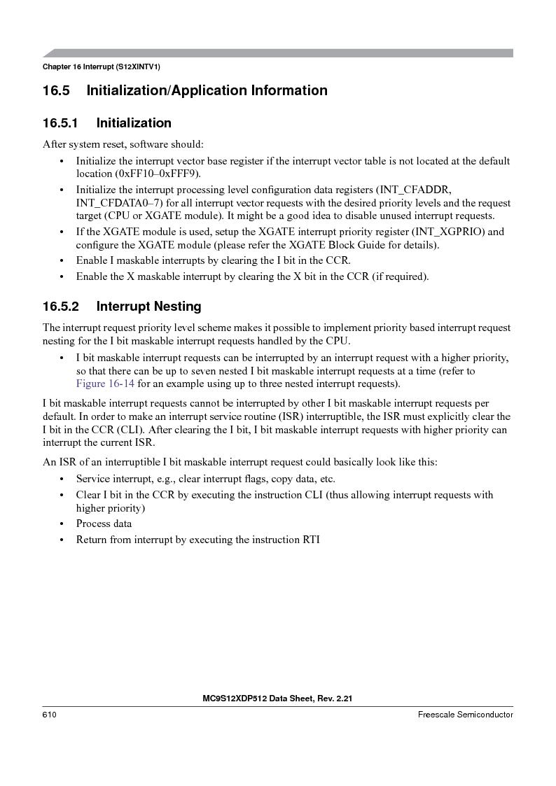 MC9S12XDP512CAL ,Freescale Semiconductor厂商,IC MCU 512K FLASH 112-LQFP, MC9S12XDP512CAL datasheet预览  第610页