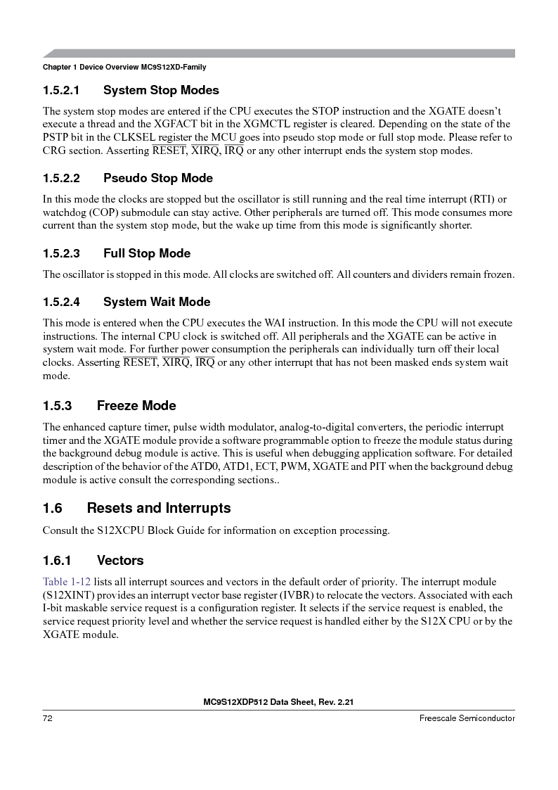 MC9S12XDP512CAL ,Freescale Semiconductor厂商,IC MCU 512K FLASH 112-LQFP, MC9S12XDP512CAL datasheet预览  第72页