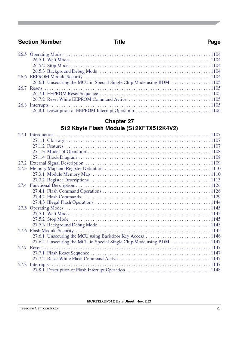 MC9S12XDT512MAL ,Freescale Semiconductor厂商,IC MCU 512K FLASH 112-LQFP, MC9S12XDT512MAL datasheet预览  第23页