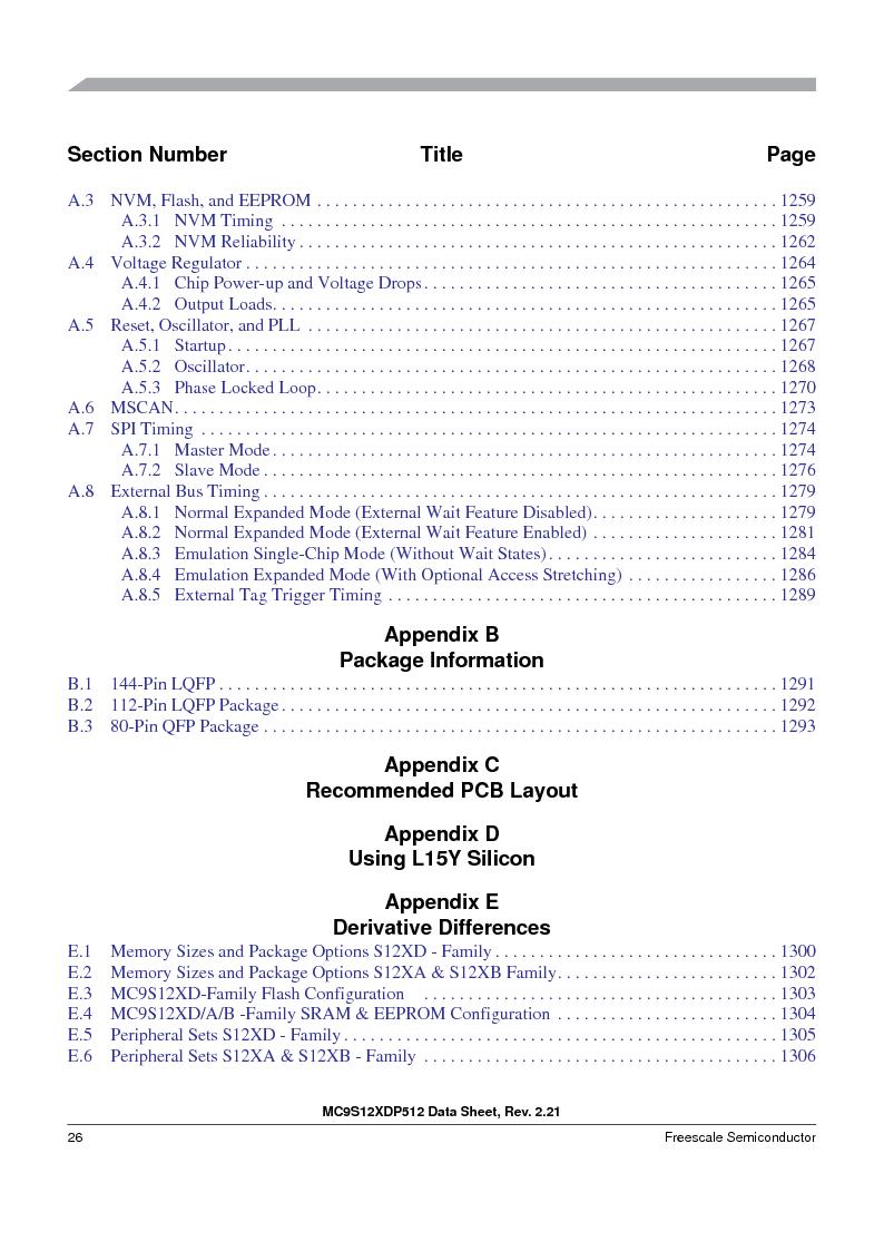MC9S12XDT512MAL ,Freescale Semiconductor厂商,IC MCU 512K FLASH 112-LQFP, MC9S12XDT512MAL datasheet预览  第26页