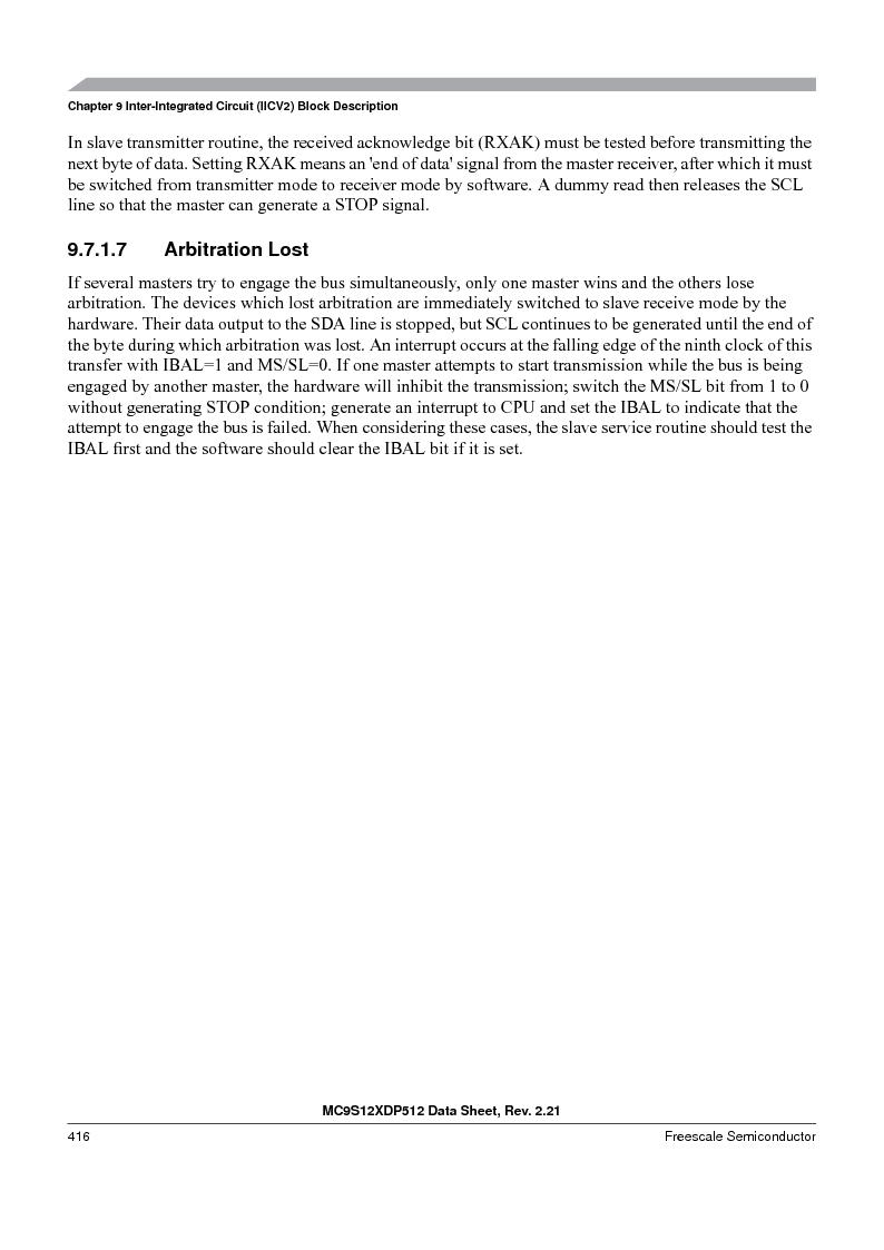 MC9S12XDT512MAL ,Freescale Semiconductor厂商,IC MCU 512K FLASH 112-LQFP, MC9S12XDT512MAL datasheet预览  第416页