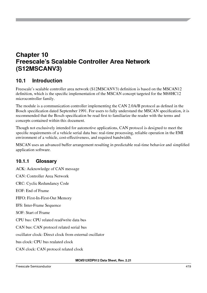 MC9S12XDT512MAL ,Freescale Semiconductor厂商,IC MCU 512K FLASH 112-LQFP, MC9S12XDT512MAL datasheet预览  第419页
