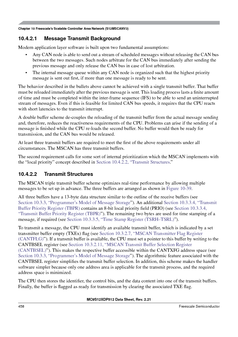 MC9S12XDT512MAL ,Freescale Semiconductor厂商,IC MCU 512K FLASH 112-LQFP, MC9S12XDT512MAL datasheet预览  第458页