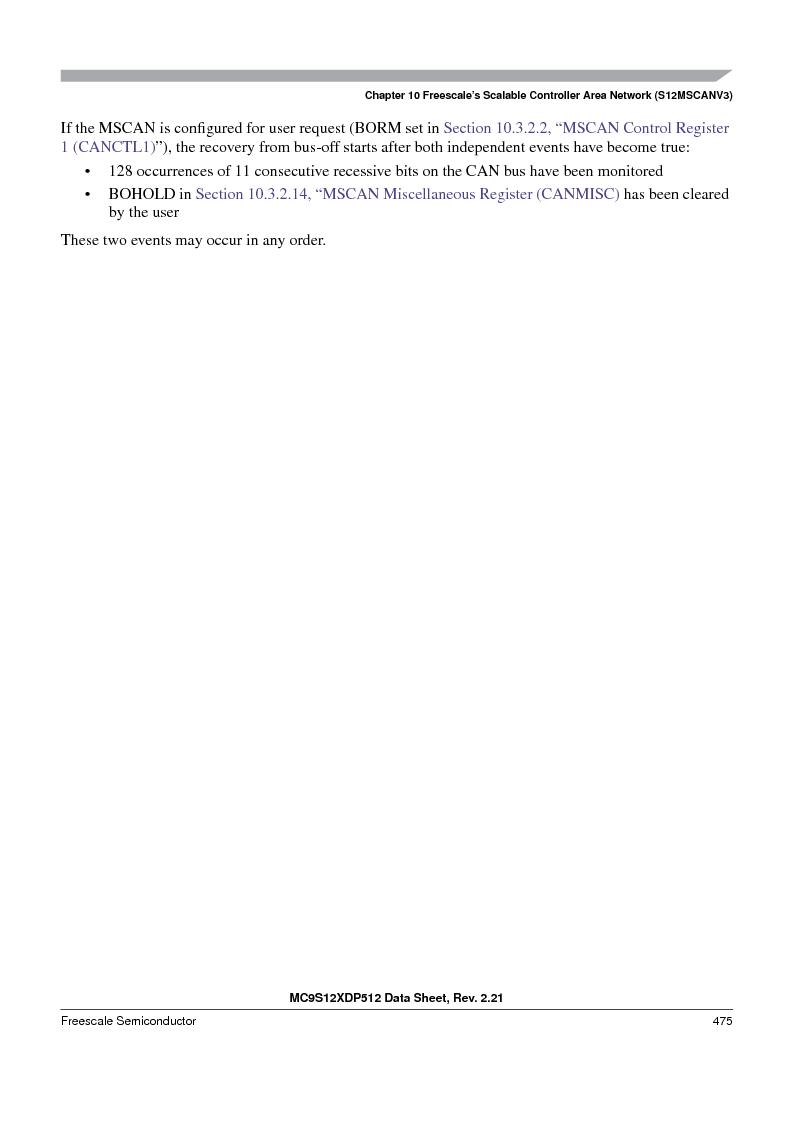 MC9S12XDT512MAL ,Freescale Semiconductor厂商,IC MCU 512K FLASH 112-LQFP, MC9S12XDT512MAL datasheet预览  第475页