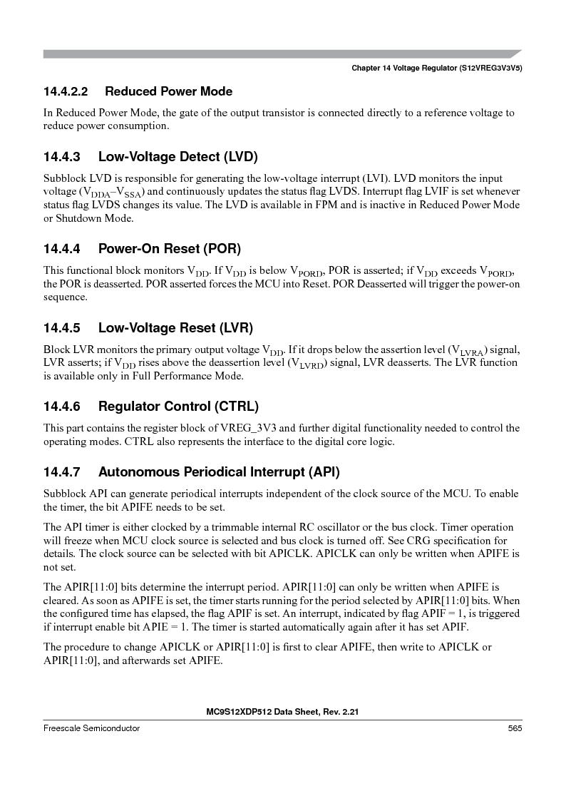 MC9S12XDT512MAL ,Freescale Semiconductor厂商,IC MCU 512K FLASH 112-LQFP, MC9S12XDT512MAL datasheet预览  第565页