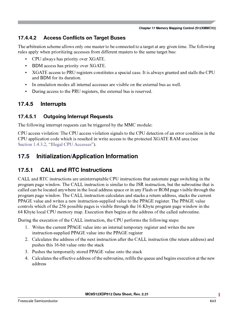 MC9S12XDT512MAL ,Freescale Semiconductor厂商,IC MCU 512K FLASH 112-LQFP, MC9S12XDT512MAL datasheet预览  第643页