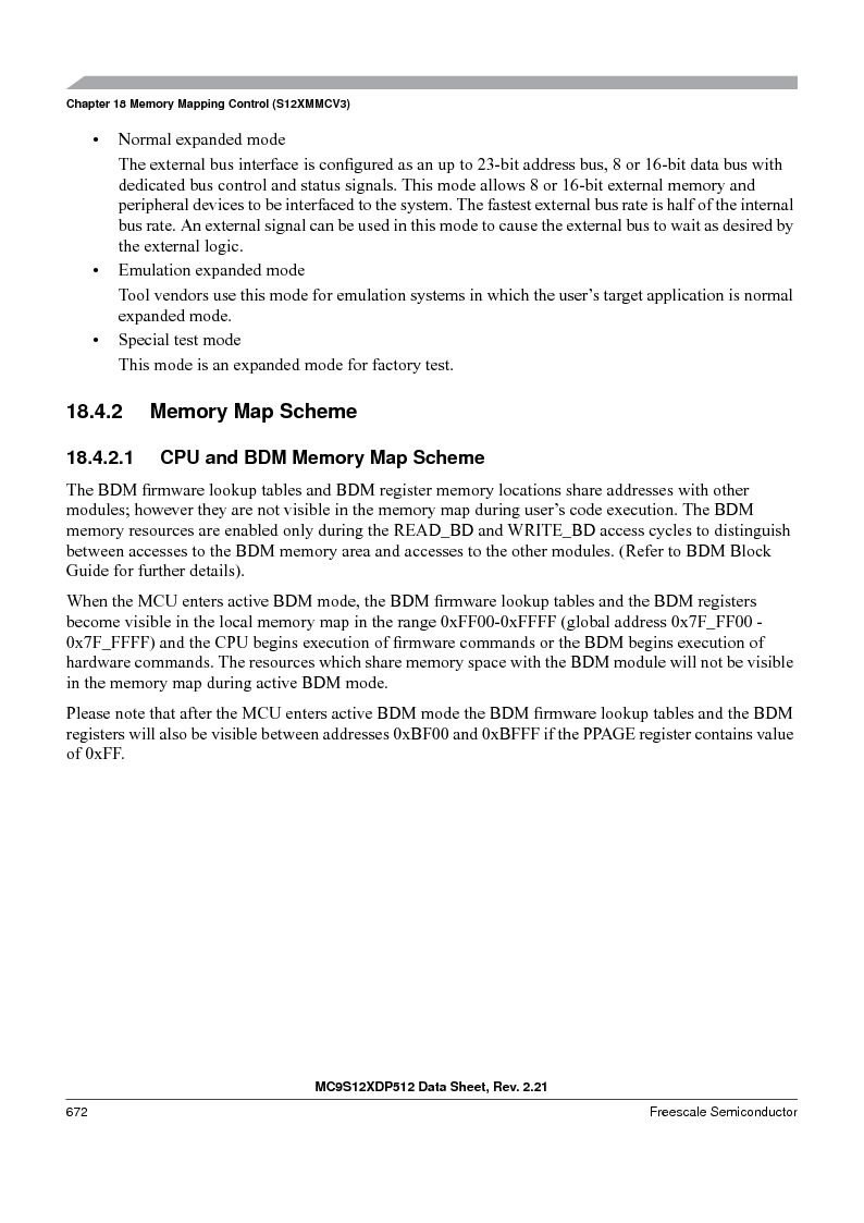 MC9S12XDT512MAL ,Freescale Semiconductor厂商,IC MCU 512K FLASH 112-LQFP, MC9S12XDT512MAL datasheet预览  第672页