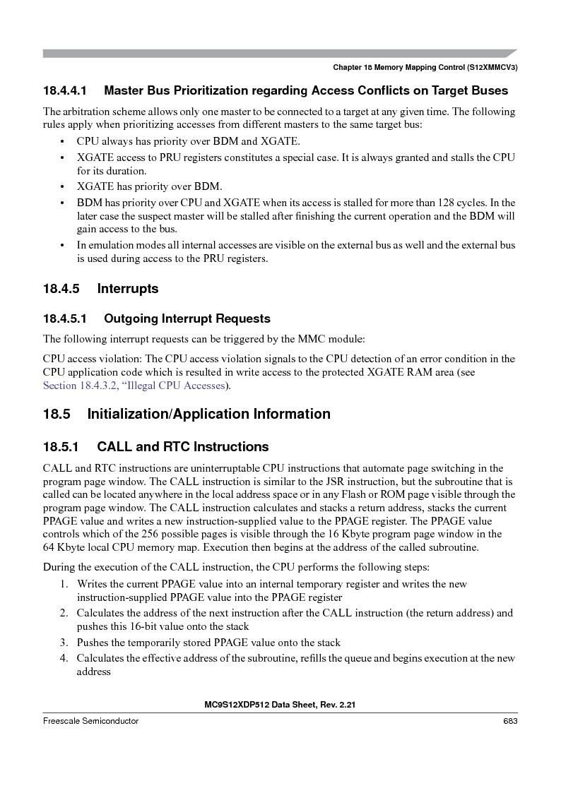 MC9S12XDT512MAL ,Freescale Semiconductor厂商,IC MCU 512K FLASH 112-LQFP, MC9S12XDT512MAL datasheet预览  第683页