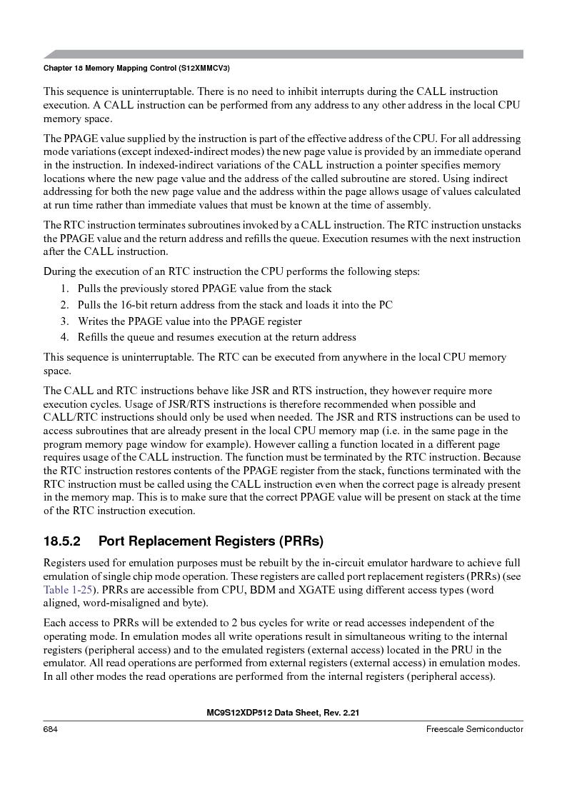 MC9S12XDT512MAL ,Freescale Semiconductor厂商,IC MCU 512K FLASH 112-LQFP, MC9S12XDT512MAL datasheet预览  第684页