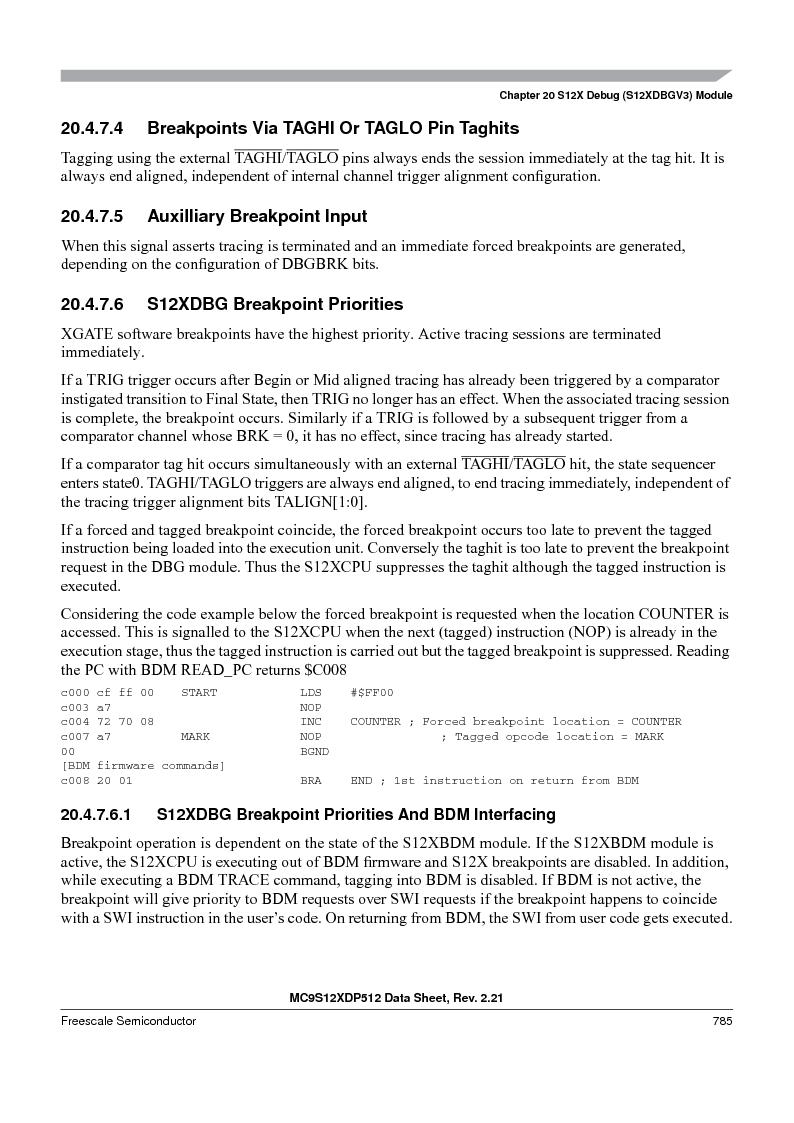 MC9S12XDT512MAL ,Freescale Semiconductor厂商,IC MCU 512K FLASH 112-LQFP, MC9S12XDT512MAL datasheet预览  第783页