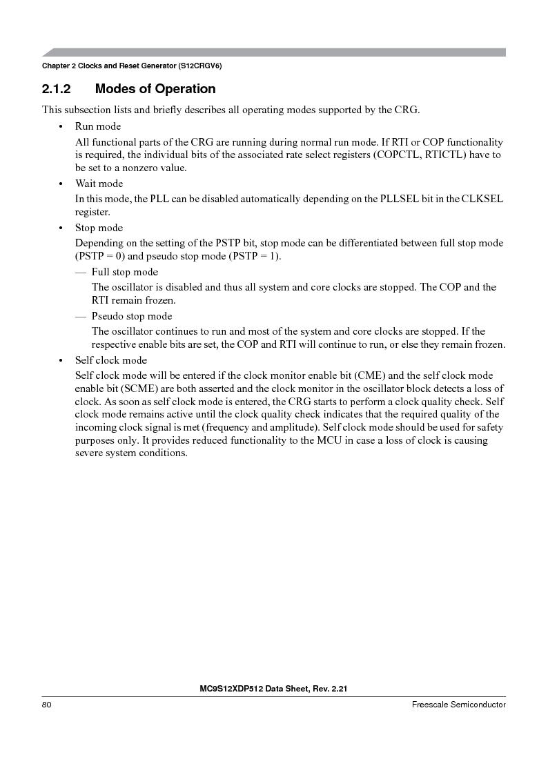 MC9S12XDT512MAL ,Freescale Semiconductor厂商,IC MCU 512K FLASH 112-LQFP, MC9S12XDT512MAL datasheet预览  第80页