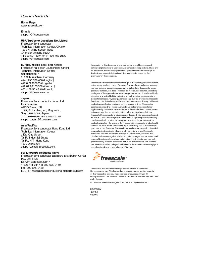 MPC561MZP56R2 ,Freescale Semiconductor厂商,IC MPU 32BIT 56MHZ 388-PBGA, MPC561MZP56R2 datasheet预览  第2页