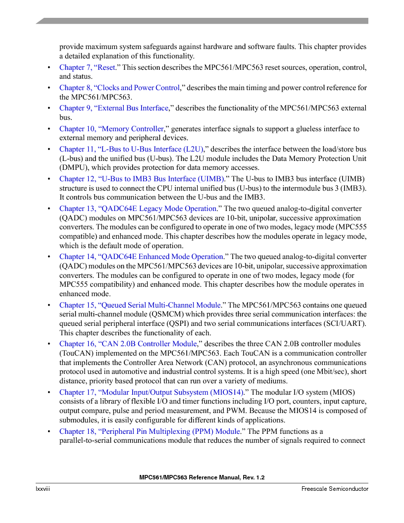 MPC561MZP56R2 ,Freescale Semiconductor厂商,IC MPU 32BIT 56MHZ 388-PBGA, MPC561MZP56R2 datasheet预览  第78页
