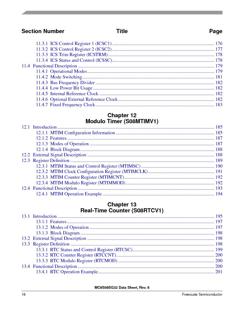S9S08SG16E1WTL ,Freescale Semiconductor厂商,IC MCU 8BIT 16KB FLASH 28TSSOP, S9S08SG16E1WTL datasheet预览  第22页