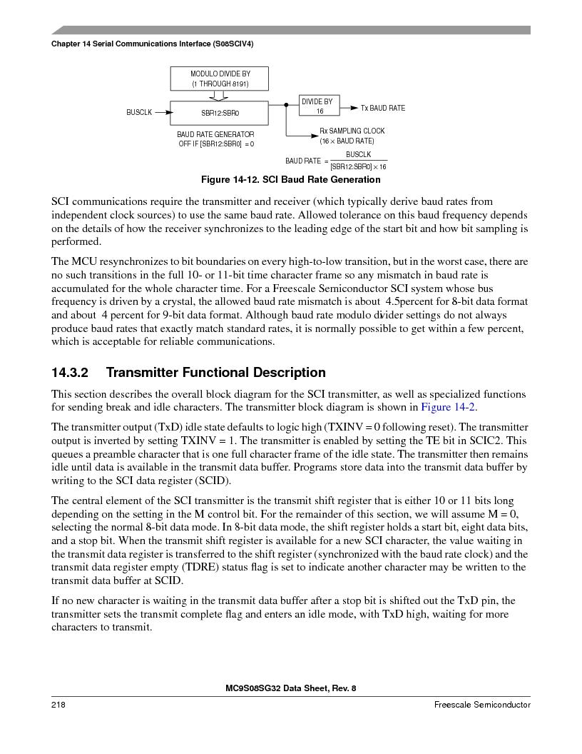 S9S08SG16E1WTL ,Freescale Semiconductor厂商,IC MCU 8BIT 16KB FLASH 28TSSOP, S9S08SG16E1WTL datasheet预览  第224页