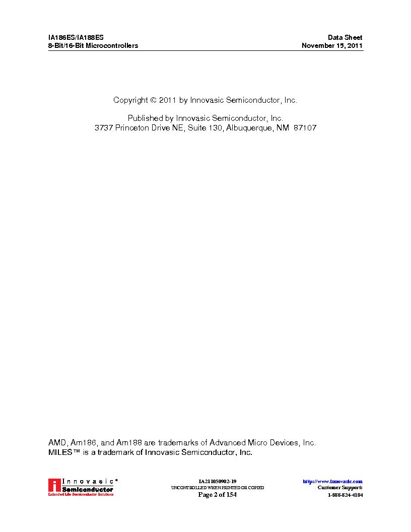 IA188ES-PTQ100I-R-03 ,Innovasic Semiconductor厂商,IC MCU 8/16BIT 40MHZ 100TQFP, IA188ES-PTQ100I-R-03 datasheet预览  第2页