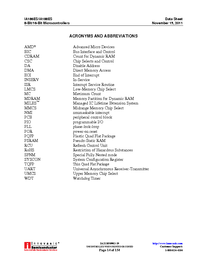 IA188ES-PTQ100I-R-03 ,Innovasic Semiconductor厂商,IC MCU 8/16BIT 40MHZ 100TQFP, IA188ES-PTQ100I-R-03 datasheet预览  第14页