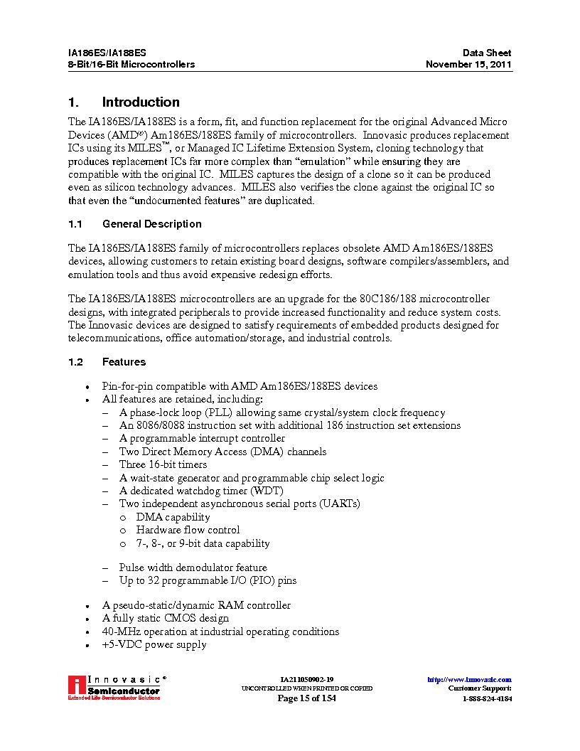 IA188ES-PTQ100I-R-03 ,Innovasic Semiconductor厂商,IC MCU 8/16BIT 40MHZ 100TQFP, IA188ES-PTQ100I-R-03 datasheet预览  第15页