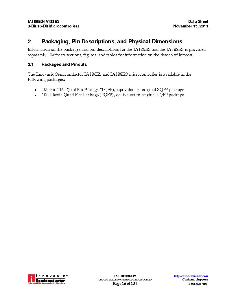 IA188ES-PTQ100I-R-03 ,Innovasic Semiconductor厂商,IC MCU 8/16BIT 40MHZ 100TQFP, IA188ES-PTQ100I-R-03 datasheet预览  第16页