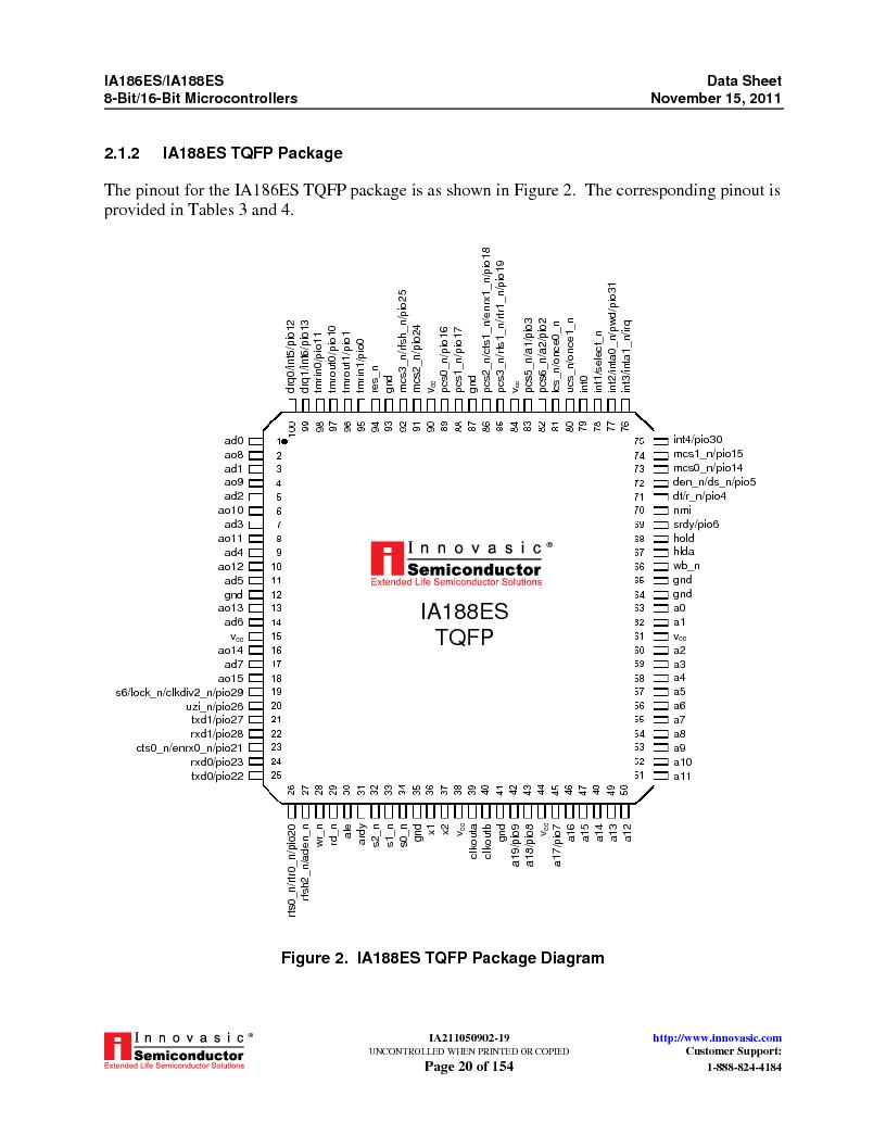 IA188ES-PTQ100I-R-03 ,Innovasic Semiconductor厂商,IC MCU 8/16BIT 40MHZ 100TQFP, IA188ES-PTQ100I-R-03 datasheet预览  第20页