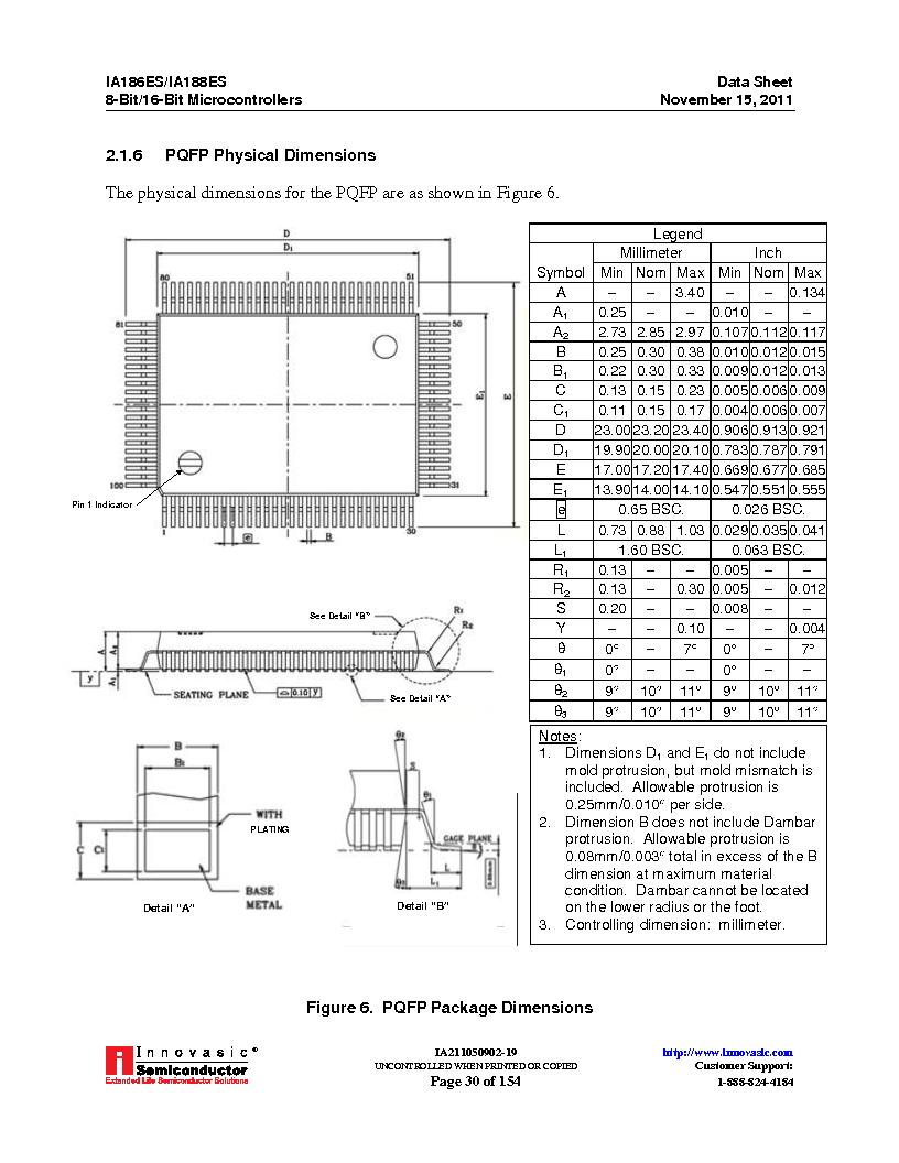 IA188ES-PTQ100I-R-03 ,Innovasic Semiconductor厂商,IC MCU 8/16BIT 40MHZ 100TQFP, IA188ES-PTQ100I-R-03 datasheet预览  第30页