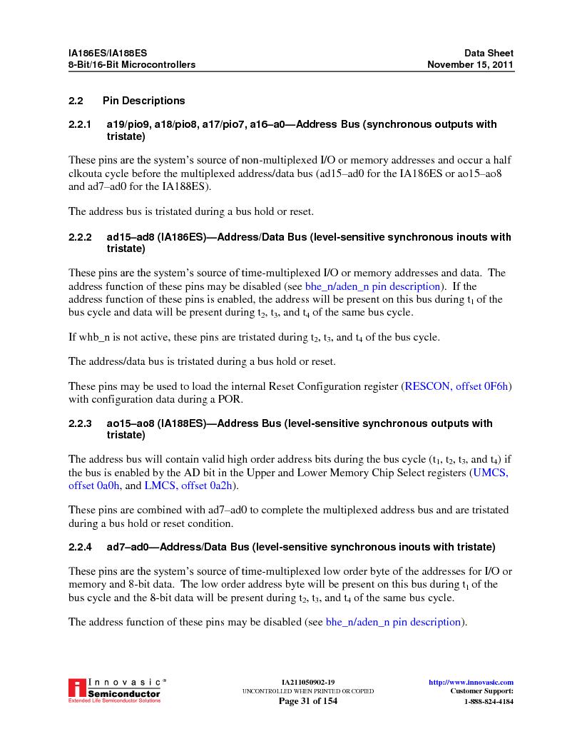 IA188ES-PTQ100I-R-03 ,Innovasic Semiconductor厂商,IC MCU 8/16BIT 40MHZ 100TQFP, IA188ES-PTQ100I-R-03 datasheet预览  第31页
