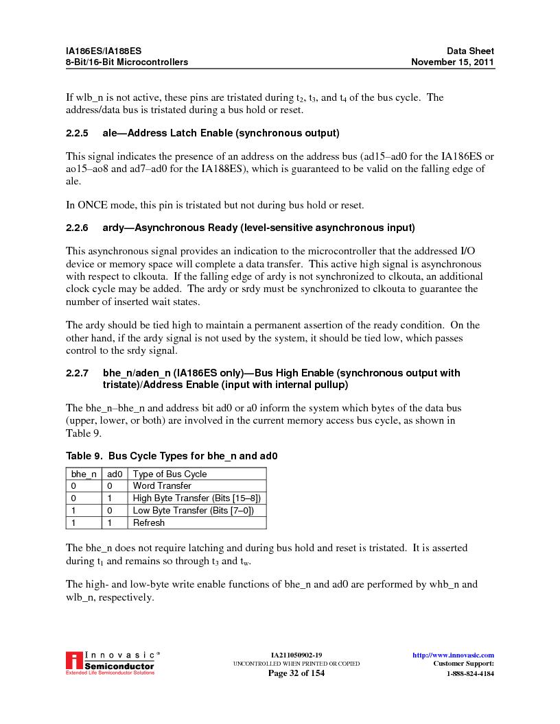 IA188ES-PTQ100I-R-03 ,Innovasic Semiconductor厂商,IC MCU 8/16BIT 40MHZ 100TQFP, IA188ES-PTQ100I-R-03 datasheet预览  第32页