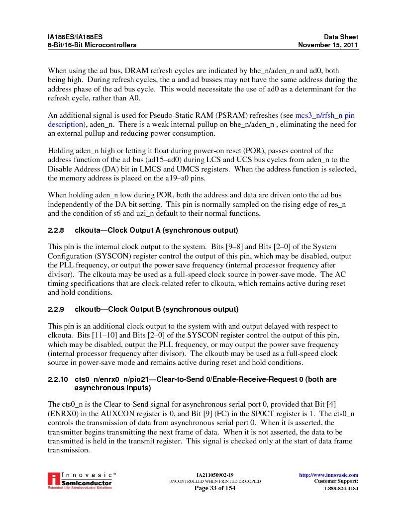 IA188ES-PTQ100I-R-03 ,Innovasic Semiconductor厂商,IC MCU 8/16BIT 40MHZ 100TQFP, IA188ES-PTQ100I-R-03 datasheet预览  第33页