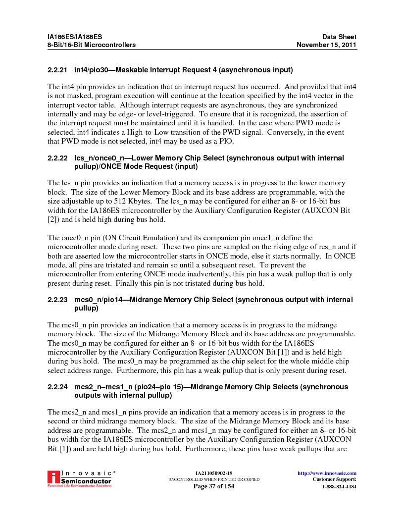 IA188ES-PTQ100I-R-03 ,Innovasic Semiconductor厂商,IC MCU 8/16BIT 40MHZ 100TQFP, IA188ES-PTQ100I-R-03 datasheet预览  第37页