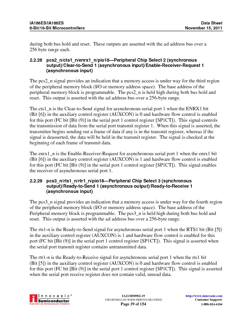 IA188ES-PTQ100I-R-03 ,Innovasic Semiconductor厂商,IC MCU 8/16BIT 40MHZ 100TQFP, IA188ES-PTQ100I-R-03 datasheet预览  第39页