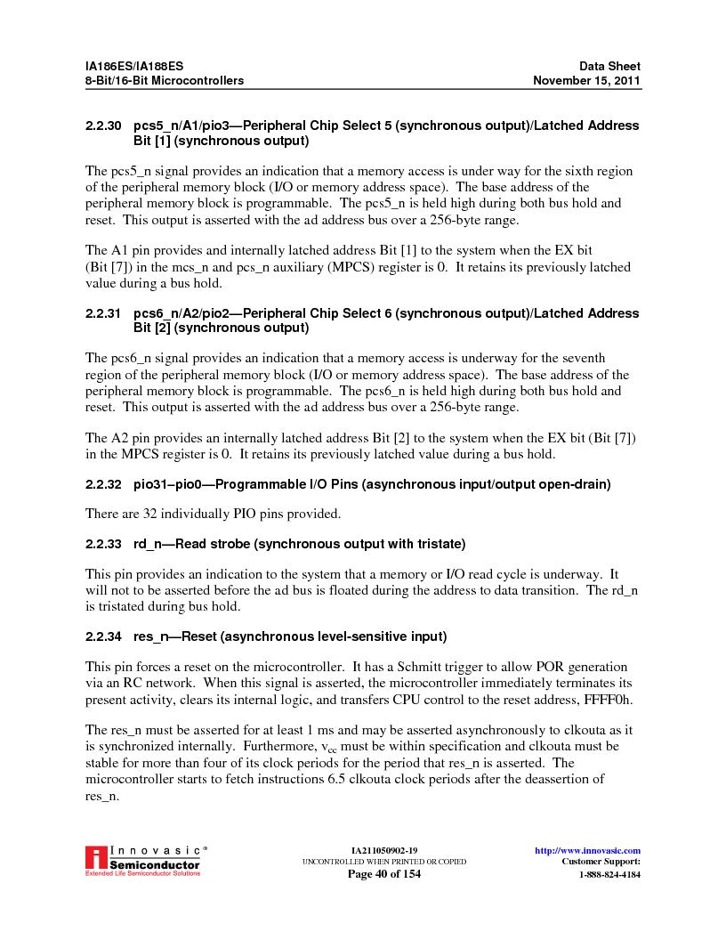 IA188ES-PTQ100I-R-03 ,Innovasic Semiconductor厂商,IC MCU 8/16BIT 40MHZ 100TQFP, IA188ES-PTQ100I-R-03 datasheet预览  第40页